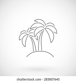 Palm  tree icon, thin line style.