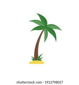 Palm tree isolated on white background. Flat style. Vector illustration