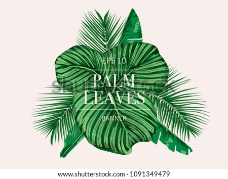 palm tree leaves background template tropical stock vector royalty