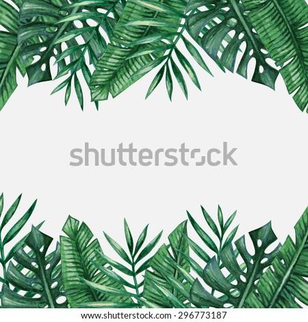 Palm Tree Leaves Background Template Tropical Stock Vektorgrafik