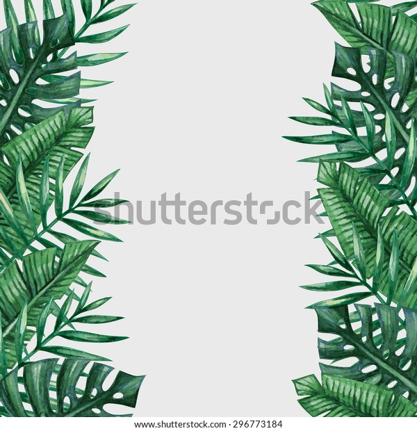 Palm Tree Leaves Background Template Tropical Stock Vector