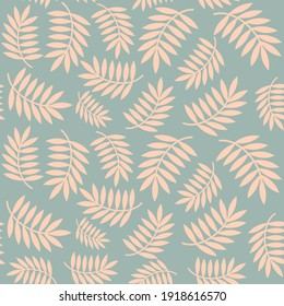 Palm tree leaves cute seamless vector pattern background illustration