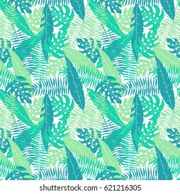 Palm tree leaves seamless pattern, flat colorful tile