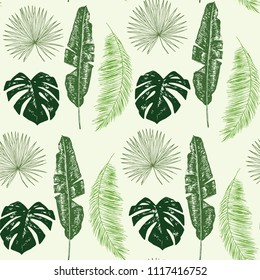 palm tree leaves seamless vector pattern