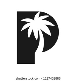 Palm tree and letter P vector logo.