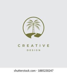 Palm tree logo design vector template