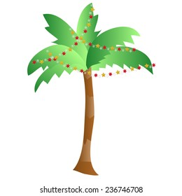 Palm tree with new year decoration