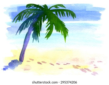 Palm tree on a desert island. Blue clear sea, sand and sunshine sky. Footsteps on the beach. Watercolor hand drawn illustration. Vector edition.
