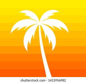 Palm tree on orange background. Hot summer vector illustration.