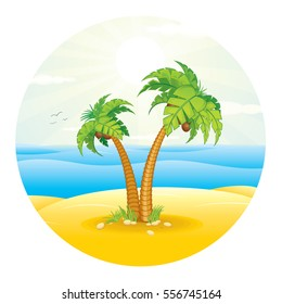Palm Tree on the Sand Tropical Island. Vector Image