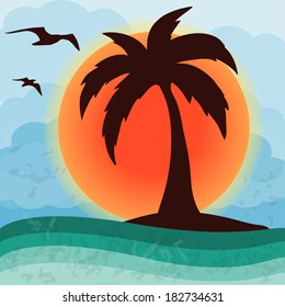 Palm tree on the sunset, vector illustration,  EPS10