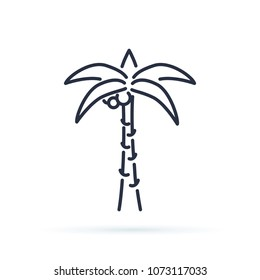 Palm tree outline icon. linear style sign for mobile concept and web design. Coco palm simple line vector icon. Symbol, logo illustration. Pixel perfect vector graphics.