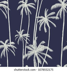 Palm tree pattern. Hand drawn textures on exotic trendy blue background. Nature textile print. Modern tropical template for web, card, placard, poster, cover, flyer, invitation, brochure.