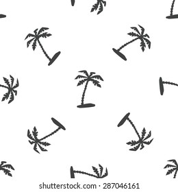 Palm tree pattern repeated on white background. Seamless palm tree vector pattern. Beach and exotic concept