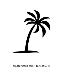 palm tree silhouette on a white background, vector illustration