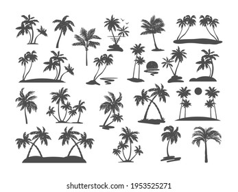 Palm tree silhouette set. Various black tropical trees on a white background. Vector illustration. For design of t-shirts, cards, invitations in retro style