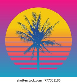 Palm tree silhouettes on a gradient background sunset. Style of the 80's and 90's, web-punk, vaporwave, kitsch.