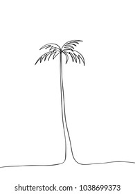 palm tree single line drawing. Abstract Line art