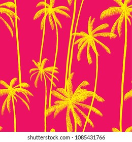 Palm tree summer vector pattern. Fashion colorful hand drawn modern textures on exotic background. Trendy Los Angeles nature textile print. Cool bright tropical template for t-shirt, swimwear