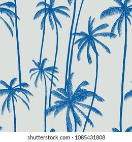Palm tree summer vector seamless pattern. Fashion colorful hand drawn modern textures on exotic background. Trendy Los Angeles nature textile print. Cool bright tropical template for t-shirt, swimwear