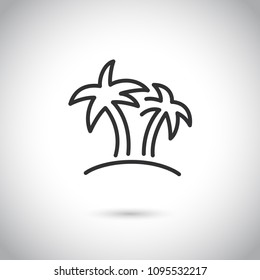 Palm tree thin line icon, travel and tourism, island sign vector graphics.