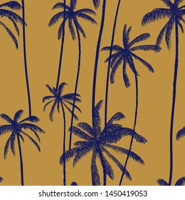 Palm tree, tropical coconuts seamless pattern  in brown color. Beach hand drawn floral print. Swimwear colored design. Vector illustration.