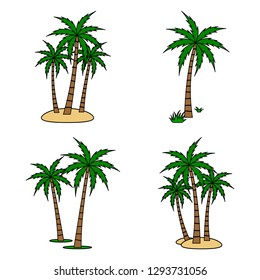 A palm tree vector set.