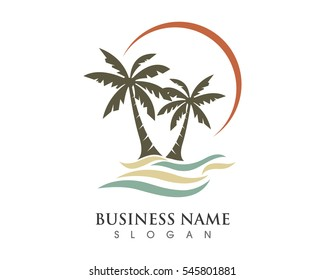 Palm tree with wave logo template vector illustration