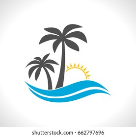 palm tree with wave and sun emblem - tropical icon