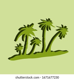 Palm trees 3D. Vector illustration. hand drawn.