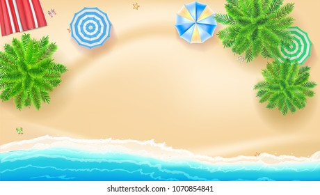 Palm trees, beach Mat sun umbrellas on seashore, 3D illustration. Tropical landscape with blue ocean and gold sand, top view. Poster design of Summer vacation. Presentation template for travel agency