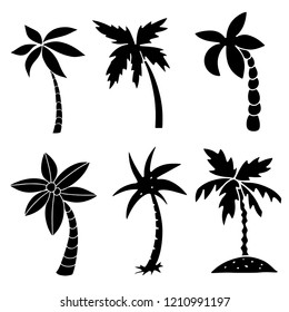 Palm trees. Black silhouettes. Hand drawn isolated on white background set