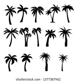 Palm trees black silhouettes set