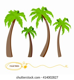 Palm trees clip art set. Vector illustration isolated on white background. Elements for design.