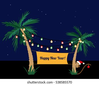 palm trees decorated with colorful garland merry christmas happy new year