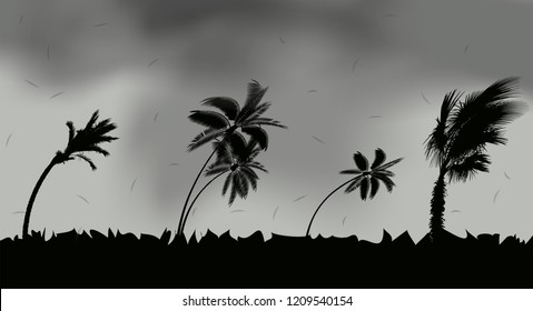 Palm trees during storm and hurricane. Leaves fly across the sky from a storm. Vector Illustration. EPS10