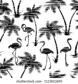 Palm trees and Flamingo pattern. Tropical background.  Trees, leaves, flamingo black on white background. Template design for t-shirts, textiles, wrapping paper black, white. Vector template