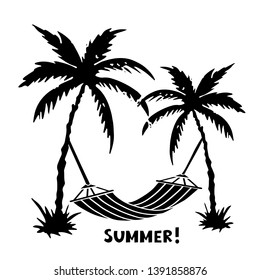 Palm trees, hammock. Black silhouette. Sketch hand drawn isolated on white background. Summer handwritten font