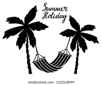 Palm trees, hammock. Hand drawn isolated on white background Summer holiday card