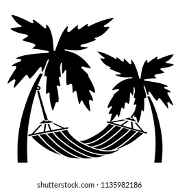 Palm trees, hammock. Hand drawn isolated on white background