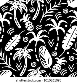Palm trees, leaves, pineapples seamless pattern. Summer background texture. Wallpaper in black and white