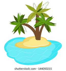 Palm trees on island isolated on white background. Vector illustration