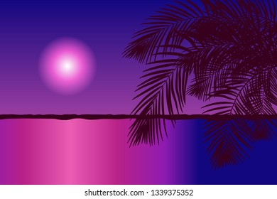 Palm trees on the sea coast by night. Vector illustration EPS10