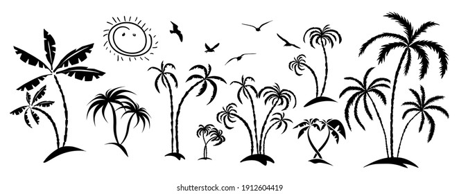 Palm trees on the shore. Vector illustration