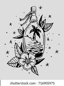Palm trees and the sea inside the bottle. Old school style. Vector illustration.
