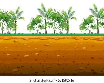 Palm trees in seamless background pattern