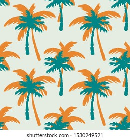 Palm trees seamless pattern. Tropical repeating background. Nature print. Fabric design, wallpaper