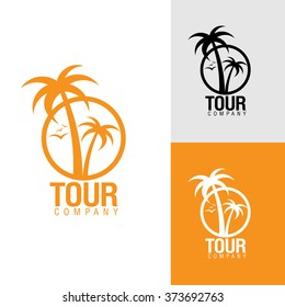 Palm trees silhouette emblems. logo travel company, travel agency. Vector illustration. icon sign. design element