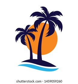 Palm trees silhouette on island symbol