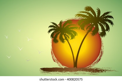 Palm trees silhouette on island, against the setting sun. Vector illustration